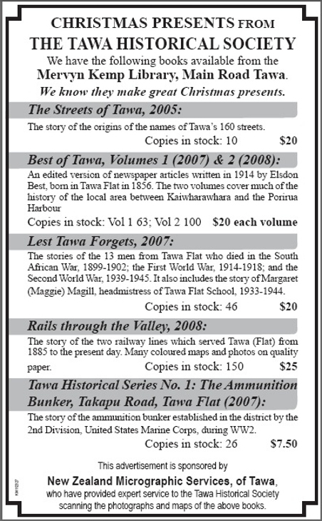 Tawa Historical Society Book Advertisement